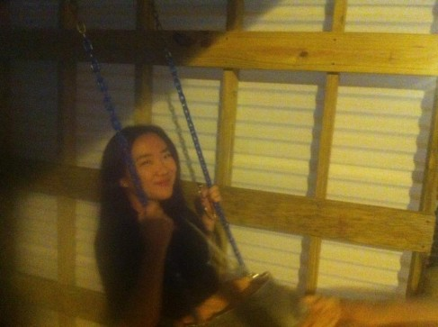 Amy on the swing.