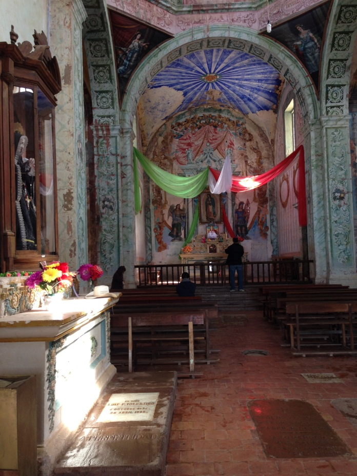 Inside the Chapel. That's Guadalupe on  the  left.