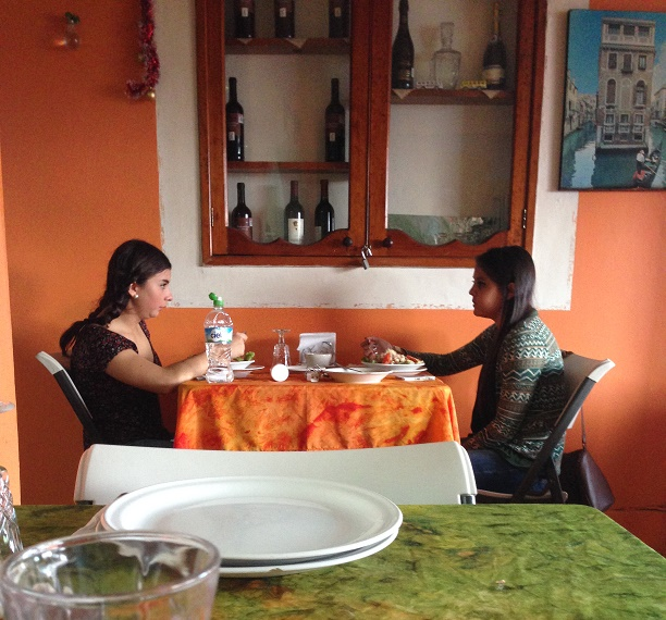 Two women chatting at my favorite Italian restaurant in Xalapa, Trattoria Giovanni.