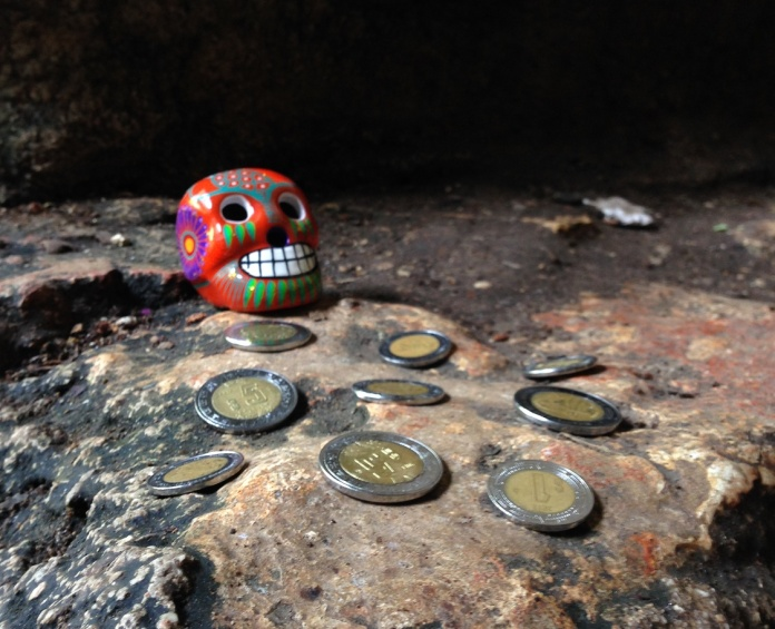 Offerings I placed in an underground lake in Valladolid for my followers. Photo by Andre.