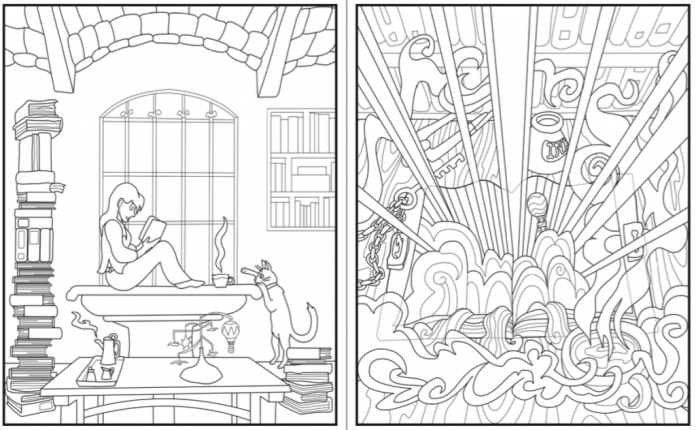 The opening scene of the Introvert Dreams coloring book